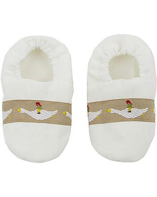 Annaliv Booties in a Box, Pantofoline Baby in Cotone Bio, Bianco - Confezione regalo in legno! Scarpe