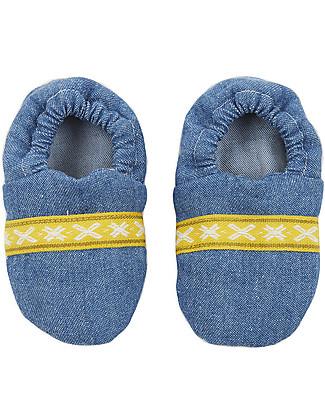 Annaliv Booties in a Box, Pantofoline Baby in Cotone Bio, Jeans – Confezione regalo in legno! Scarpe