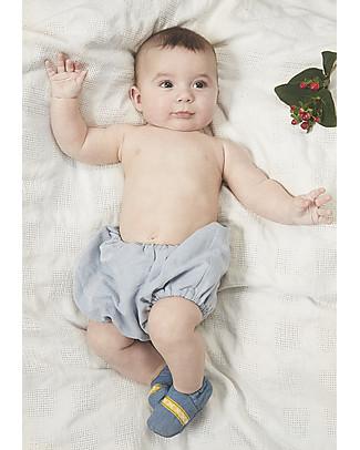 Annaliv Booties in a Box, Pantofoline Baby in Cotone Bio, Jeans - Confezione regalo in legno! Scarpe