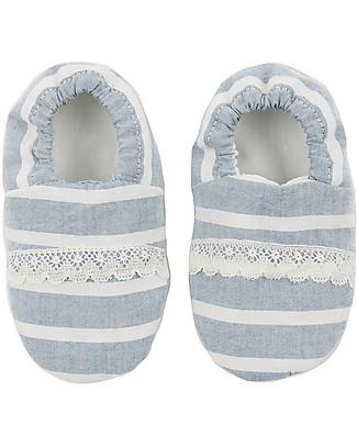 Annaliv Booties in a Box, Pantofoline Baby in Cotone Bio, Righe Bianco + Grigio - Confezione regalo in legno! Scarpe