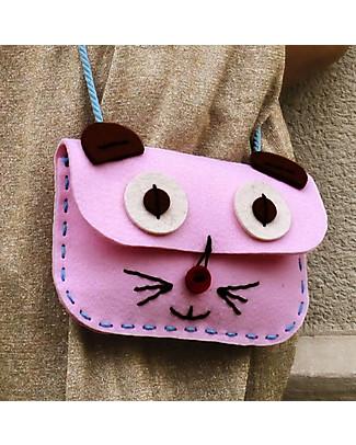 aPunt Barcelona Kit Cucito La Tua Borsa, Gatto Rosa - Crea e decora la tua borsa! Kit Fai Da Te
