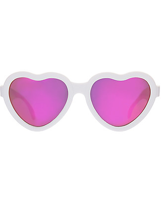 Babiators Occhiali da Sole, Blue Collection, The Sweetheart - Montatura Cuore Bianca/Lenti Rosa, 100% Protezione UV - GARANZIA 1 ANNO Lost&Found Occhiali