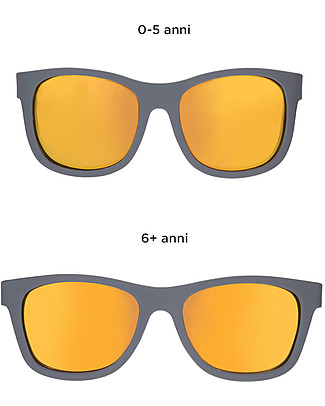 Babiators Occhiali da Sole The Islander, Blue Collection, Montatura Grigio/Lenti Arancioni - Lenti Polarizzate, 100% Protezioe UV Occhiali
