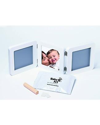 Baby Art Baby Art Cornice Impronta Doppia - Bianco e Grigio Album Dei Ricordi