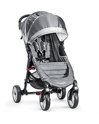 Baby Jogger Passeggino City Mini 4 - Grigio Acciaio/Sabbia - Leggero e compatto - Si chiude con una mano Passeggini