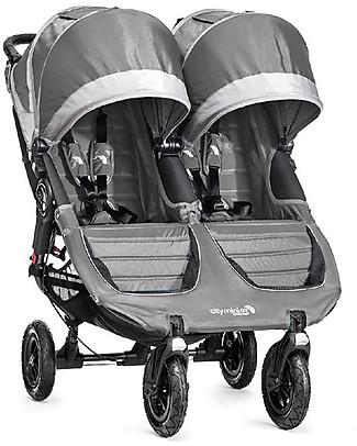 Baby Jogger Passeggino City Mini GT Double - Grigio Acciaio/Sabbia - Per tutti i terreni, maneggevole - Si chiude con una mano! Passeggini Doppi