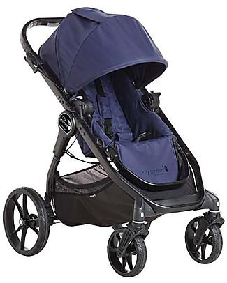 Baby Jogger Travel System Duo City Premier Deluxe, Indigo - City Premier + Carrozzina Deluxe + Maniglione + Adattatori Sistemi Combinabili