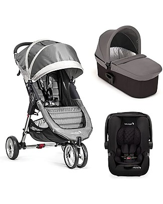 Baby Jogger Travel System Trio City Mini 3 Deluxe, Grigio - City Mini 3 + Carrozzina Deluxe + Maniglione + City GO + Adattatori Sistemi Combinabili
