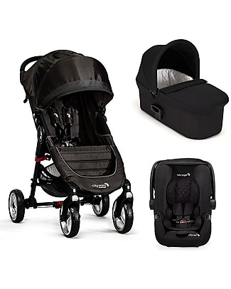 Baby Jogger Travel System Trio City Mini 4 Deluxe, Nero - City Mini 4 + Carrozzina Deluxe + Maniglione + City GO + Adattatori Sistemi Combinabili