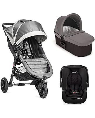 Baby Jogger Travel System Trio City Mini GT Deluxe, Grigio - City Mini GT + Carrozzina Deluxe + maniglione + City GO + Adattatori Sistemi Combinabili