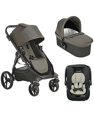 Baby Jogger Travel System Trio City Premier Deluxe, Taupe - City Premier + Carrozzina Deluxe + Maniglione + City GO + Adattatori Sistemi Combinabili