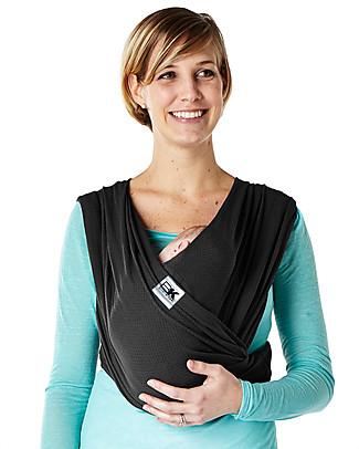 Baby K'tan Fascia Portabebè Ergonomica 5 in 1 Breeze Traspirante, Nero - 100% cotone - Si indossa come una t-shirt! Marsupi