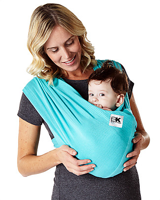 Baby K'tan Fascia Portabebè Ergonomica 5 in 1 Breeze Traspirante, Verde-azzurro - 100% cotone - Si indossa come una t-shirt! Fasce Portabebé