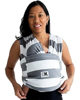 Baby K'tan Fascia Portabebè Ergonomica 5 in 1 Facilissima, Righe Grigio - 100% cotone - Si indossa come una t-shirt! Fasce Portabebé