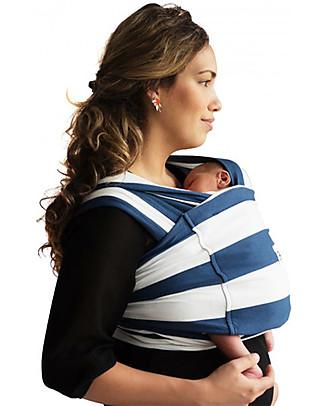 Baby K'tan Fascia Portabebè Ergonomica 5 in 1 Facilissima, Righe Nautiche - 100% cotone - Si indossa come una t-shirt! Marsupi