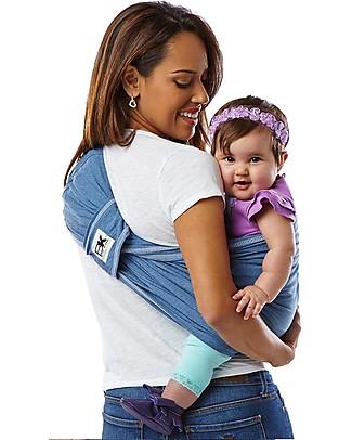 Baby K'tan Fascia Portabebè Ergonomica Facilissima 5 in 1, Denim - 100% Cotone - Si indossa come una t-shirt! Marsupi