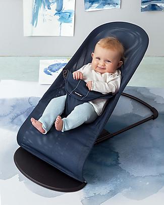 BabyBjörn Sdraietta Balance Soft con Tessile in Rete, Blu - Fino a 2 anni! Sdraiette