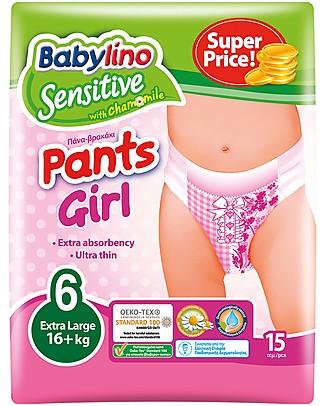 Babylino Pannolini Mutandina Ecologici Sensitive - Bambina (Tg 5 o 6 anni)  - Gli Unici Certificati Oeko-Tex Standard 100! Pannolini Biodegradabili