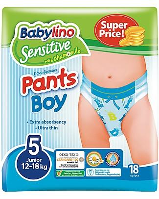 Babylino Pannolini Mutandina Ecologici - Sensitive Maschietto - Estratti di Camomilla! Pannolini Biodegradabili