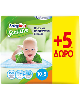 Babylino Traversine Sensitive 90x60 10 + 5 Pz - Massima Assorbenza - Certificate Oeko-Tex 100! Kit Toilette Neonato