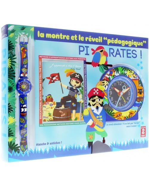 BabyWatch Set Pirati: Sveglia Pedagogica per Bambini (Movimento Silenzioso) + Zip Orologio Impermeabile (Perfetto già dai 6 anni) Sveglie