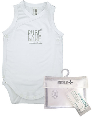 Bamboom Sleeveless Bodysuit 0-6 months, White - Elasticated organic bamboo Short Sleeves Bodies