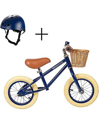 Banwood Bicicletta Senza Pedali First Go con Casco, Blu - da 3 a 5 anni! Biciclette Senza Pedali