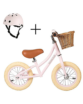 Banwood Bicicletta Senza Pedali First Go con Casco, Rosa - da 3 a 5 anni! Biciclette Senza Pedali