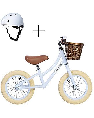 Banwood Bicicletta Senza Pedali First Go con Casco, Sky - da 3 a 5 anni! Biciclette Senza Pedali