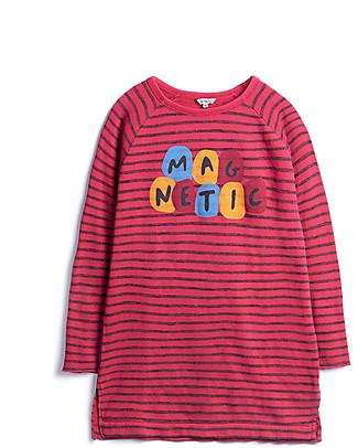 Barn of Monkeys Abito Maniche Lunghe con Spacchi Laterali Magnetic, Rosso - Cotone Vestiti