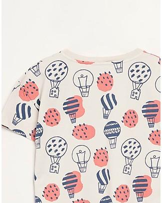 Barn of Monkeys T-shirt Maniche Corte Mongolfiere, Sabbia - 100% cotone bio T-Shirt e Canotte