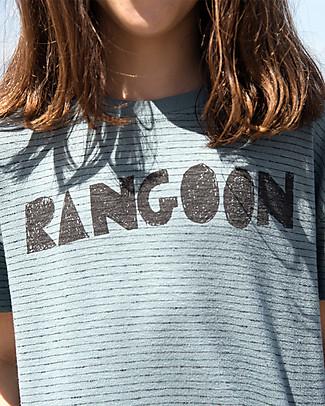 Barn of Monkeys T-shirt Maniche Corte Rangoon, Grigio-Azzurro - 100% cotone bio T-Shirt e Canotte
