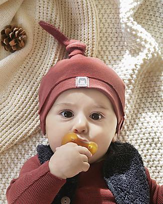 Bean's Barcelona Cappellino Neonato a Costine con Nodino Fog, Bordeaux - Cotone bio Cappelli Invernali
