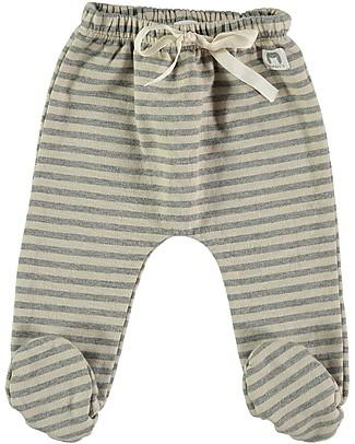 Bean's Barcelona Pantaloni in Felpa con Piedini Chatel, Righe Grigio Chiaro - 100% cotone bio Pantaloni Lunghi