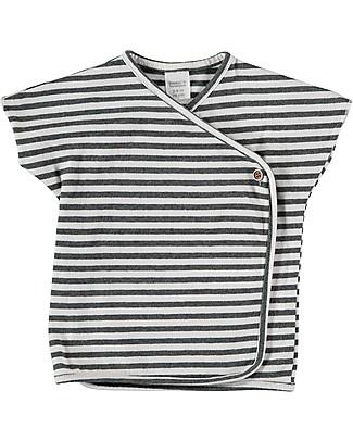 Bean's Barcelona T-Shirt Asimmetrica a Righe Cadaqués, Bianco - Cotone bio T-Shirt e Canotte