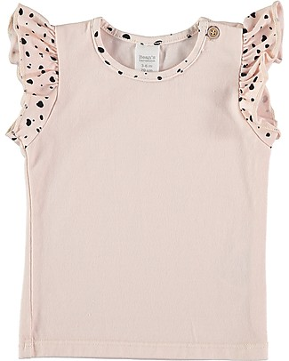 Bean's Barcelona  T-Shirt Bimba con Balze Santa Cruz, Rosa - Cotone bio T-Shirt e Canotte