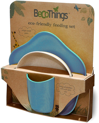 BecoThings Set Pappa Ecologico BecoFeeding - Blu (Completamente Biodegradabile) Set Pappa