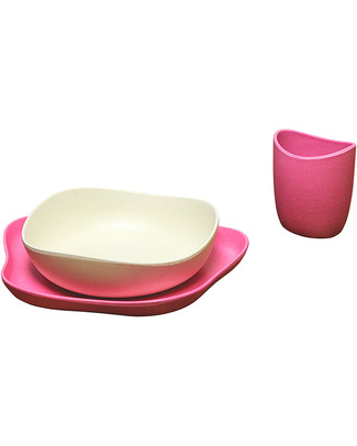 BecoThings Set Pappa Ecologico BecoFeeding - Rosa (Completamente Biodegradabile) Set Pappa