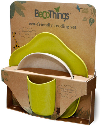 BecoThings Set Pappa Ecologico BecoFeeding - Verde (Completamente Biodegradabile! Set Pappa