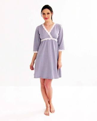 Belabumbum Camicia da Notte Kimono Premaman e Allattamento Dottie - Grigio con Pois - 100% Cotone Pima Camicie Da Notte
