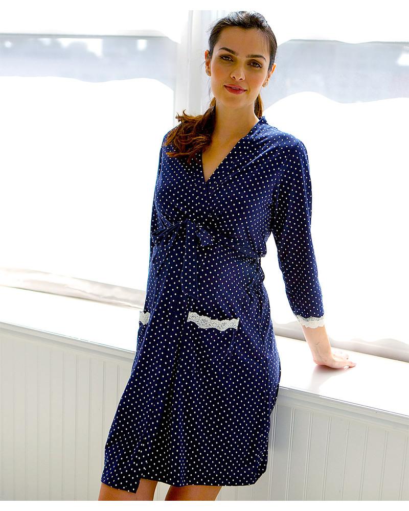 sconto più votato Raccogliere assolutamente alla moda Belabumbum Dottie Vestaglia Premaman - Blu a Pois (Perfetta ...