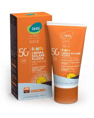 Bjobj bjobi Crema Fluida Bimbi Solare Protezione Alta SPF 50 - 125 ml (Filtri Naturali non Chimici) Solari