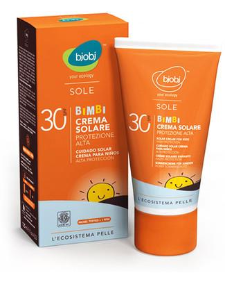 Bjobj bjobi Crema Solare Bimbi Protezione Alta SPF 30 - 125 ml (filtro minerale naturale, senza fltri chimici!) Solari