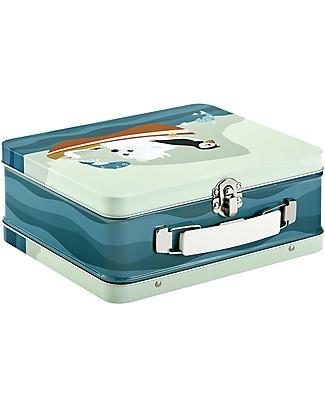 Blafre Valigetta in Metallo 19,5 x 17 x 8 cm, Puffino - Sicura anche per i cibi! Contenitori in Metallo