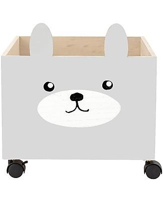 Bloomingville Box Portagiochi con Ruote, Coniglio - Legno di Paulownia Contenitori Porta Giochi