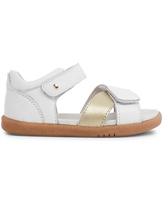 Bobux Sandalino I-Walk Sail, Bianco/Oro - Suola super flessibile! Cerimonia