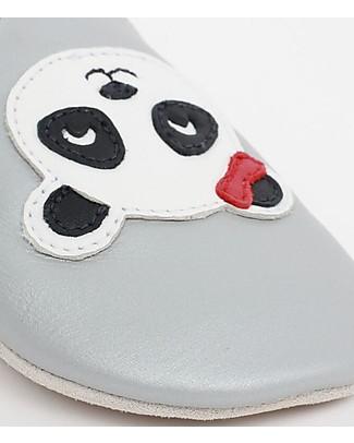 Bobux Scarpina Soft Sole, Argento con Panda - La cosa migliore dopo i piedi scalzi!  Scarpe