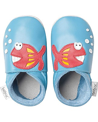 Bobux Scarpina Soft Sole, Azzurro con Pesciolino - La cosa migliore dopo i piedi scalzi! Scarpe