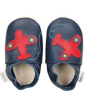 Bobux Scarpina Soft Sole, Blu con Aeroplanino - La cosa migliore dopo i piedi scalzi! Scarpe