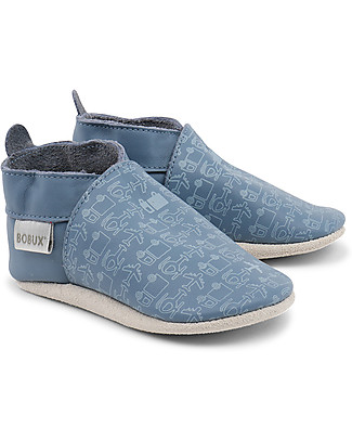 Bobux Scarpina Soft Sole, Blu / Veicoli – La cosa migliore dopo i piedi scalzi! Scarpe